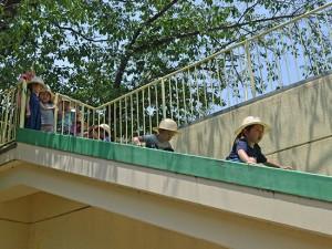 2階の屋上から避難滑り台を降りる練習です